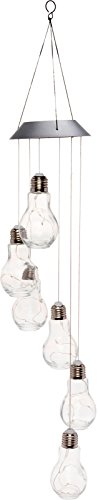 GreenLighting Solar Powered Glass Bulb Hanging Light - Modern Pendant Light for Deck, Patio