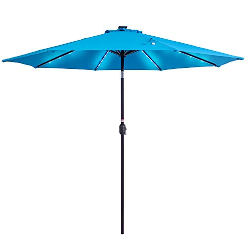 Sundale Outdoor Solar Powered 32 LED Lighted Patio Umbrella Table Market Umbrella with Crank and...