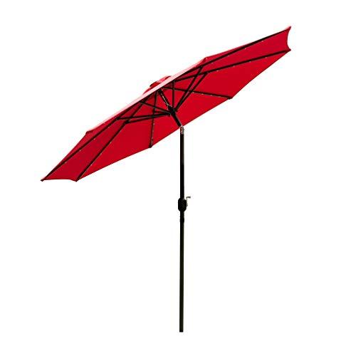 HYD-Parts 10ft Solar Patio Umbrella, Outdoor Table Umbrella w/Tilt for Garden,Deck, Backyard, Pool