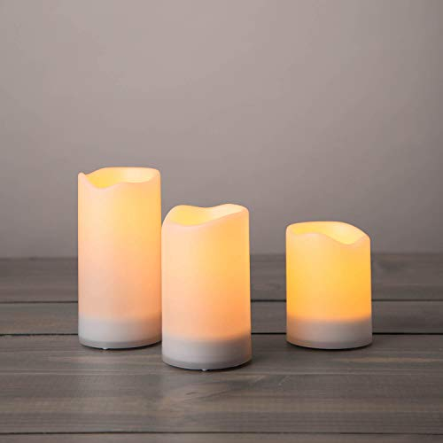 Outdoor Solar Powered Candles - Waterproof LED Flameless Candles, 3 Inch Diameter, Flickering Warm...