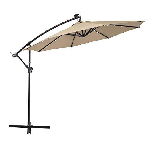 PHI VILLA 10ft Offset Hanging Umbrella with 32 PCS LED Lights Solar Powered Patio Umbrella with...