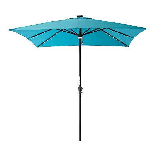 C-Hopetree Square Outdoor Patio Umbrella with Solar LED Lights 7.5 x 7.5 ft - Aqua Blue