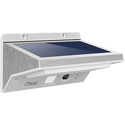 Solar Motion Sensor Light Outdoor, iThird LED Solar Powered Outdoor Lights Stainless Steel for Yard...