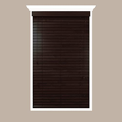 Luxr Blinds Custom-Made Real Wood Horizontal Window Blinds - 33' W x 43 to 48' H - 2' Wooden Slats -...
