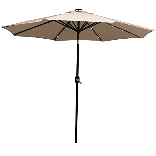 Sunnydaze Solar Outdoor Patio Umbrella with LED Lights, Tilt & Crank, Aluminum, 9 Foot, Beige