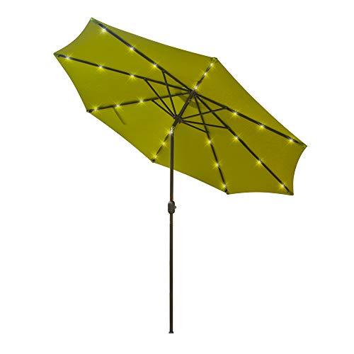 Aok Garden 9 Ft LED Lighted Patio Outdoor Umbrella Solar Power Market Table Fade-Resistant Umbrella...