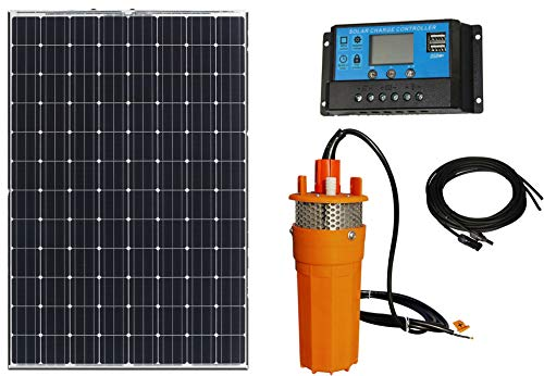 Solar Powered Water Pump w/100W Poly Solar Panel: 12V Submersible Well Pump 1.6 GPM & Mounting Kits...