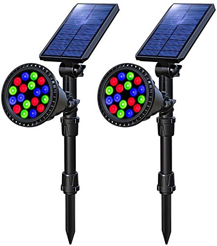 OSORD Solar Lights Outdoor, Waterproof 18 LED Multicolor Solar Landscape Spotlights Garden...