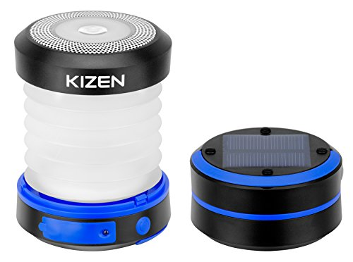 Kizen LED Camping Lanterns - Solar Powered or USB Rechargeable Emergency Lights - Collapsible Camp...