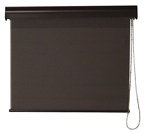 Interior Solar Shade, Commercial Weight Fabric, Aluminum Valance, Cord Operation, Dark Brown, 23-In...