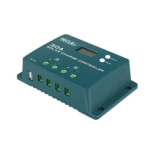 HQST Solar Charge Controller 30Amp 12V/24V PWM Positive Ground with LCD Screen,Compatible with Gel,...
