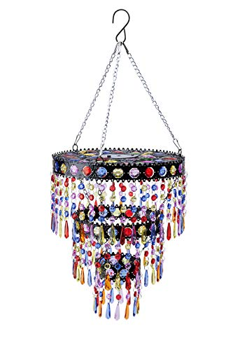 Wind & Weather Outdoor Solar Lighted Colorful Mini Chandelier with Faux Crystals and Jewels - 10.5 L...