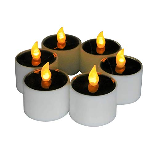 Micandle 6 Pack Outdoor Solar Candles/Long Lasting Using,Flameless Solar Tealights Candles for...
