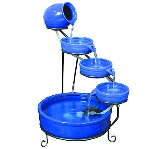 ASC Cascade Ceramic Solar Water Fountain Bowls 5 Tierd with Panel Pump Cascading Garden Decoration...