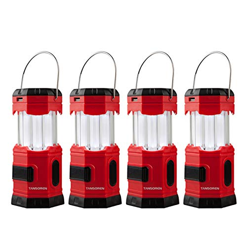 TANSOREN 4 Pack Portable LED Camping Lantern Solar USB Rechargeable or 3 AA Power Supply, Built-in...