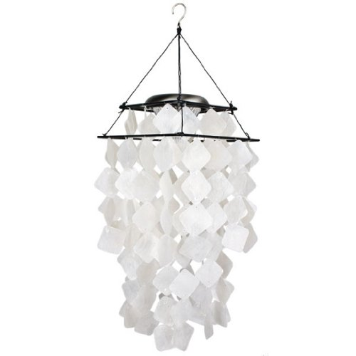Woodstock Chimes SCWD Asli Arts Collection Capiz Solar Chime, White Diamond