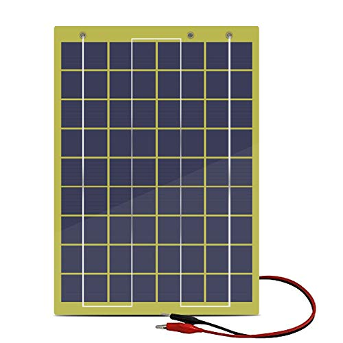 ECO-WORTHY 20 Watts Epoxy Solar Panel with 2m Cable & 30A Clip for 12V Camping Battery Charger