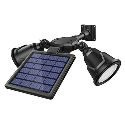 DBF Solar Motion Sensor Light Outdoor Upgraded 1000 Lumens Weatherproof Dual Head Solar Spotlight...
