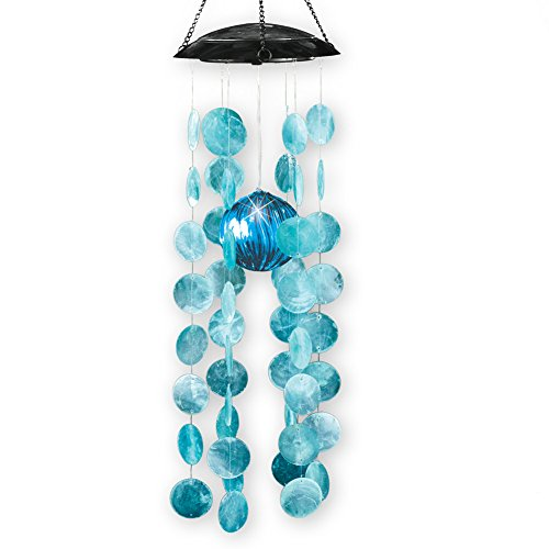 Collections Etc Capiz Shell Solar Lighted Windchime Dangler Chandelier Accent Light
