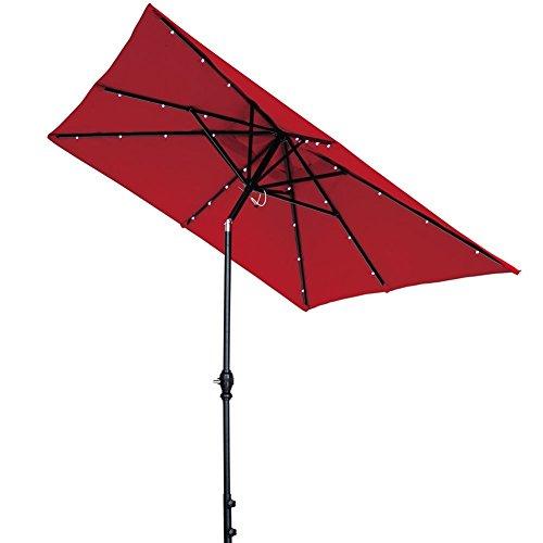 Abba Patio Solar LED 9 x 7 ft Patio Offset Hanging Umbrella Cantilever Umbrella with Cross Base for...