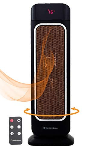 Oscillating Space Heater – Ceramic Forced Fan Heating with Stay Cool Housing - Tower with Remote...