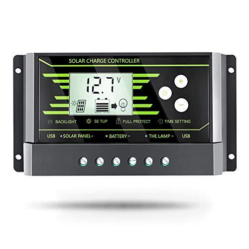 PowMr 10A Solar Charge Controller - Solar Panel Charge Controller 12V/24V PWM Charge Controller Dual...