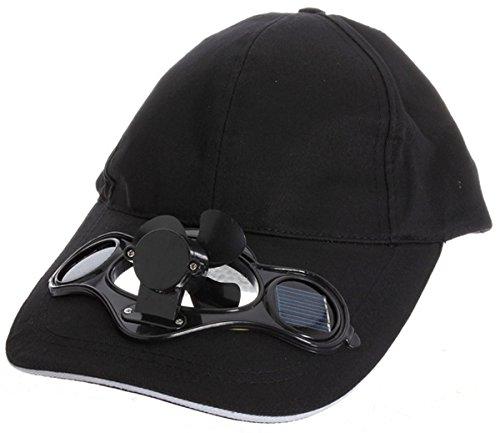 Worldshops Summer Sport Outdoor Hat Cap with Solar Sun Power Cool Fan Black Color