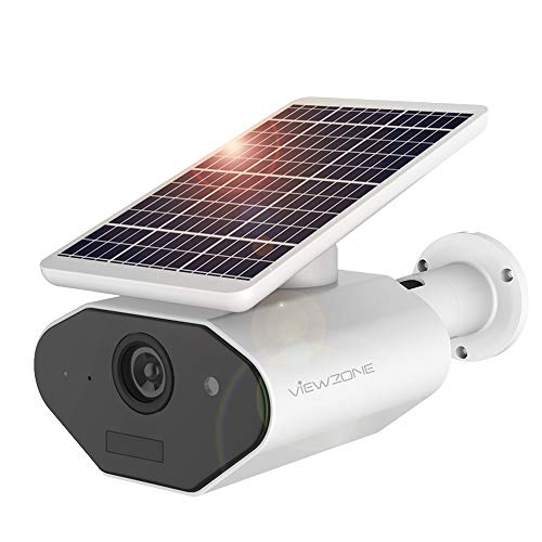 ViewZone Solar Powered Security Camera L4, With 6400Mah Rechargeable Battery Solar WiFi Camera,...
