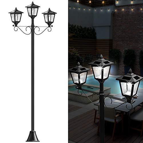 72' Solar Lamp Post Lights Outdoor, Triple-Head Street Vintage Solar Lamp Outdoor, Solar Post Light...