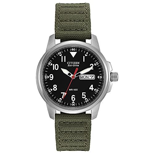 Citizen Eco-Drive GarrisonQuartz Unisex Watch, Stainless Steel with Nylon strap, Field watch, Green...