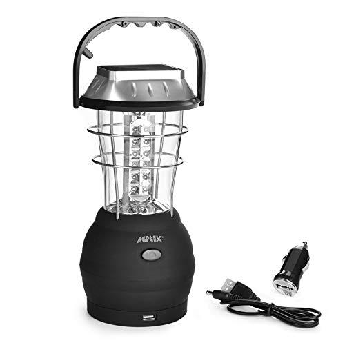 AGPTEK Solar Lantern, 5 Mode Hand Crank Dynamo 36 LED Rechargeable Camping Lantern Emergency Light,...