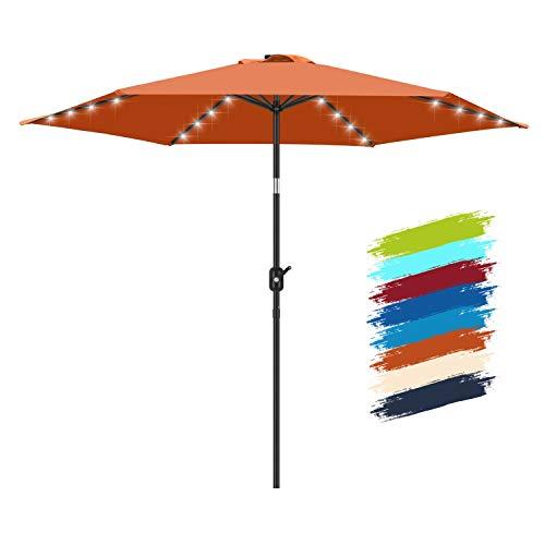 FRUITEAM Solar Patio Umbrella Outdoor LED Umbrella, 7 1/2 FT Table Umbrella with Lights Heavy Duty...