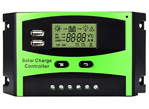 Solar Charge Controller 12V/24V 30A PWM Solar Panel Intelligent Regulator with Dual USB Port LCD...