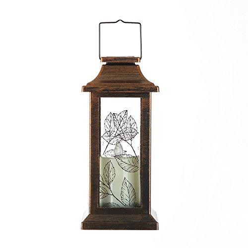 Ivy Home Solar Lantern Outdoor Metal and Glass Hanging Lamp for Garden Decor