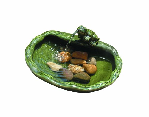 Smart Solar 22300R01 Solar Powered Ceramic Frog Water Feature, Green Glazed Ceramic, Powered By An...
