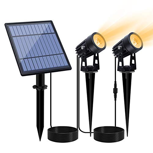 APONUO Led Solar Spotlights 2W Solar Powered Landscape Lights Outdoor Spotlights Low Voltage IP65...