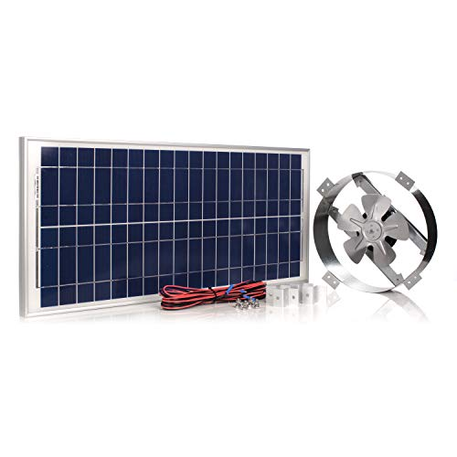 Amtrak Solar Powerful 50-Watt Galvanized Steel New Upgraded 14' Fan Housing, Solar Attic Fan Quietly...