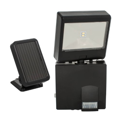 MAXSA Motion-Activated Security Spotlight, Solar-Powered Durable Outdoor Light. Low Profile, Black...