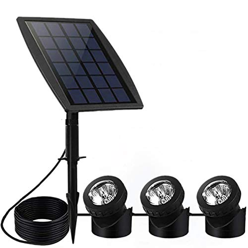 FEIFEIER Solar Pond Spotlights,Weatherproof Solar Powered Pure White Color LED Landscape Spotlight 3...