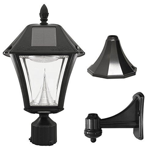 Gama Sonic GS-105FPW-BW Baytown II, Outdoor Solar Light and 3' Pole Pier & Wall Mount Kits, Lamp...