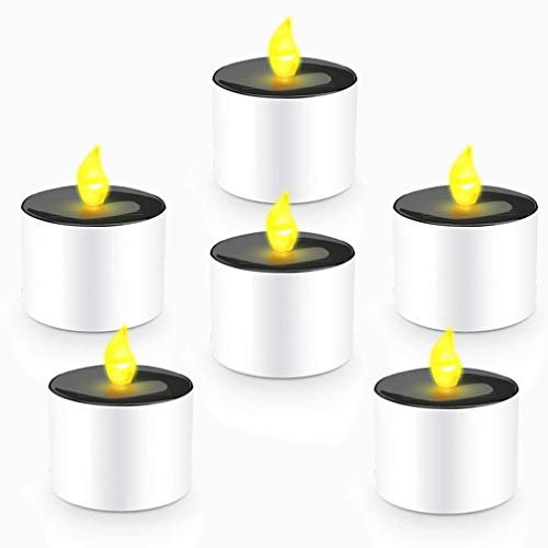 COUTUDI Tea Light Candle Flameless Candles LED Candles Solar Candles Warm-Yellow Faux Tea Light with...
