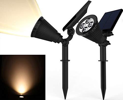 Solar Spotlights, Magictec Warm Light 2-in-1 Adjustable 4 LED Wall/Landscape Solar Lights with...