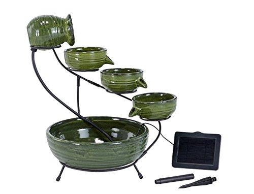 Smart Solar 23931R01 Ceramic Solar Cascading Fountain, Glazed Green Bamboo Design, Powered by an...