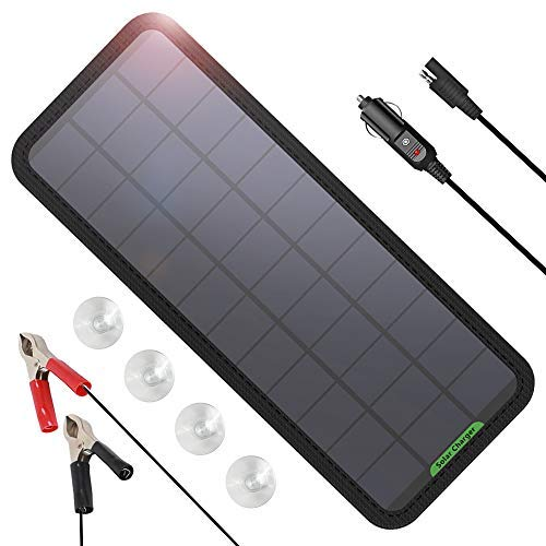 GIARIDE 7.5W-Solar-Battery-Trickle-Charger-Maintainer- Portable 12V SunPower Solar Panel Trickle...