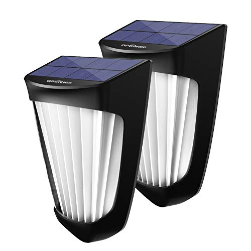 OPERNEE Solar Lights Outdoor, (2 Pack) Wireless 10 Led Solar Fence Lights Waterproof Auto ON/Off...
