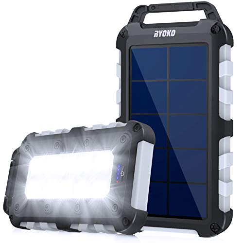 Solar Charger, Ryoko 20000mAh Solar Phone Charger Power Bank with Dual USB Output and LED...