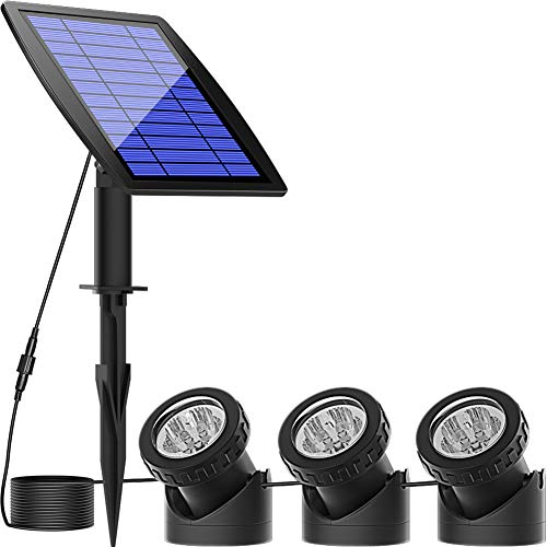 Solar Pond Spotlights,Submersible Pond Lights with 3 Lamps 18 LEDs Landscape Spotlight Underwater...