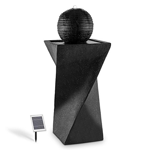 blumfeldt Siena, Solar Powered Pedestal Sphere Fountain for Indoors and Outdoors, Moody Night-Time...