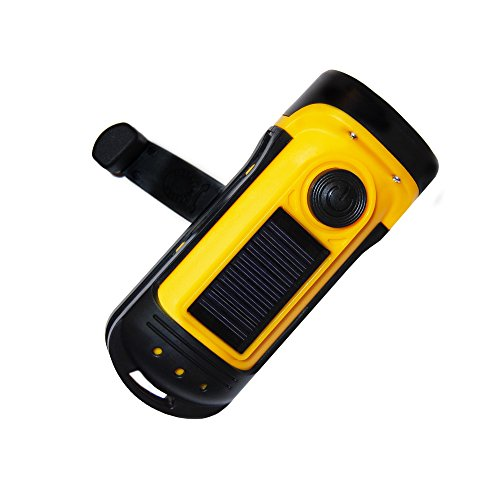 PrimalCamp Hand Crank Solar Powered Flashlight: Rechargeable Survival Gear LED Self Powered Charging...