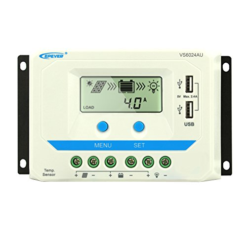 EPEVER PWM 60A Solar Charge Controller 12V/24V Battery Charge Regulator Input with LCD Display Dual...